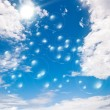 Soap bubbles on blue sky — Stock fotografie
