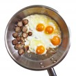 Frying pan with eggs  — Stock Photo