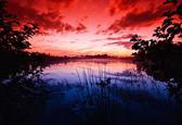 Sunset near the lake — Stock Photo