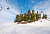 Ski lift chairs — Stock Photo
