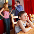 Parents swear, and child worries - Foto Stock