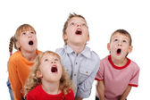 Surprised by children looking up — Stock Photo