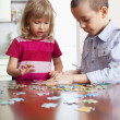 Stock Photo: Children, playing puzzles
