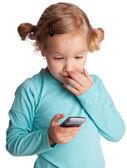 Child with phone — Stock Photo
