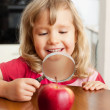 Child are considering a magnifying glass apple — Stock Photo #5163960
