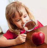 Barnet funderar ett förstoringsglas äpple — Stockfoto