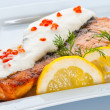 Stock Photo: Steak from a salmon with creamy sauce and caviar