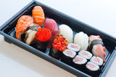 Japanese Cuisine - Sushi Set: Salmon, Conger and Tuna Sushi — Stock Photo