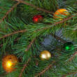 Christmas fir with decoration - Stock Photo