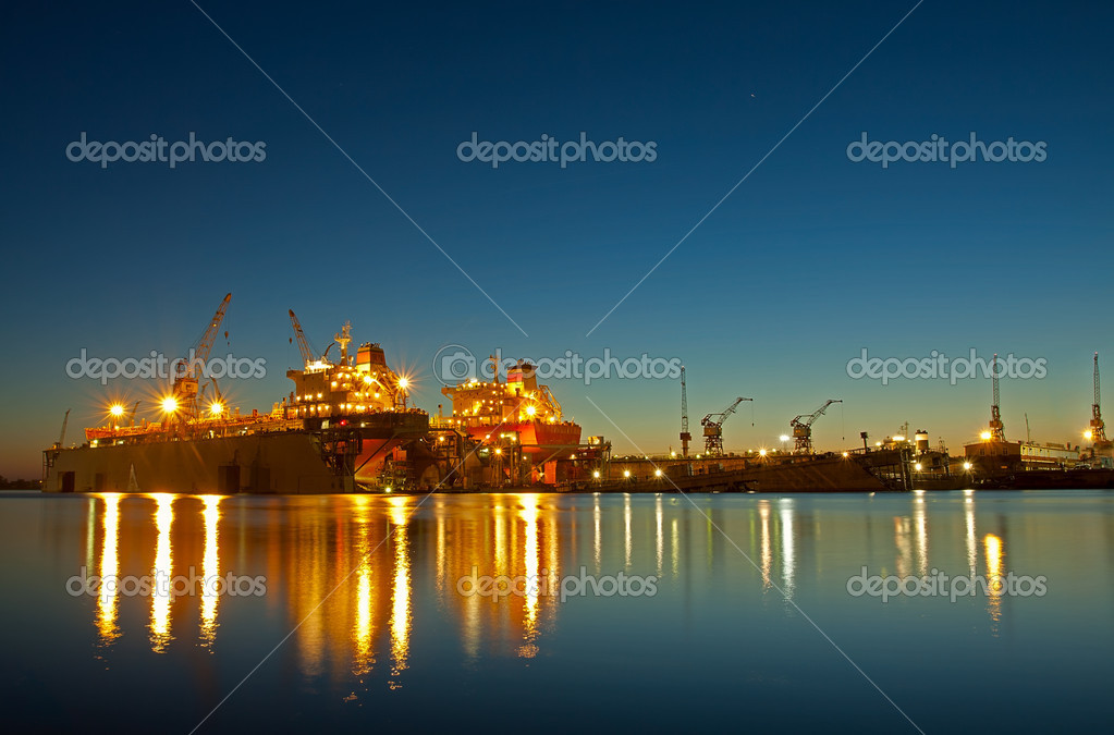 Shipyard in riga at sunset time — Stock Photo #4472054