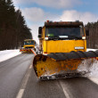 Snowplow vehicle working — Stock Photo