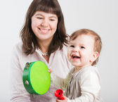 Portrait happy mums with a daughter on a white background — Stock Photo