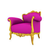 Classic glossy pink armchair isolated on a white background — Foto Stock