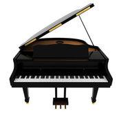 Real preto piano de cauda, isolado no branco — Foto Stock