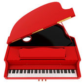 Real red grand piano isolated on white — Stock Photo