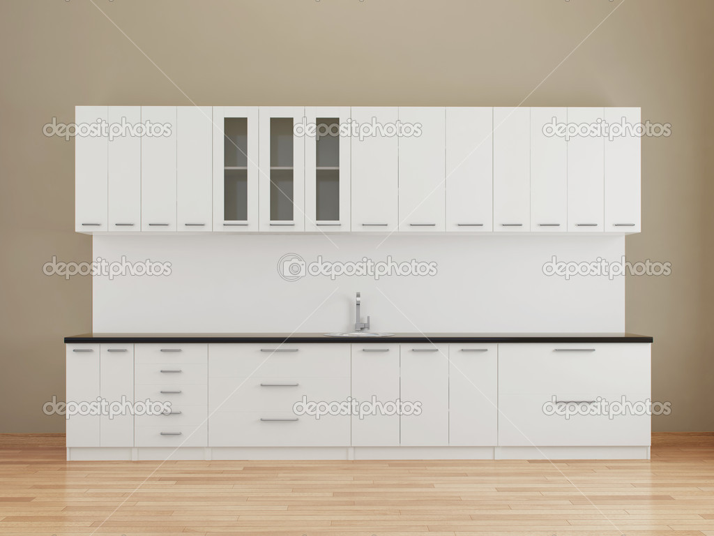 Empty Kitchen Wall Modern Empty Kitchen In White Stock Photo Ac Ericmilos 4546272
