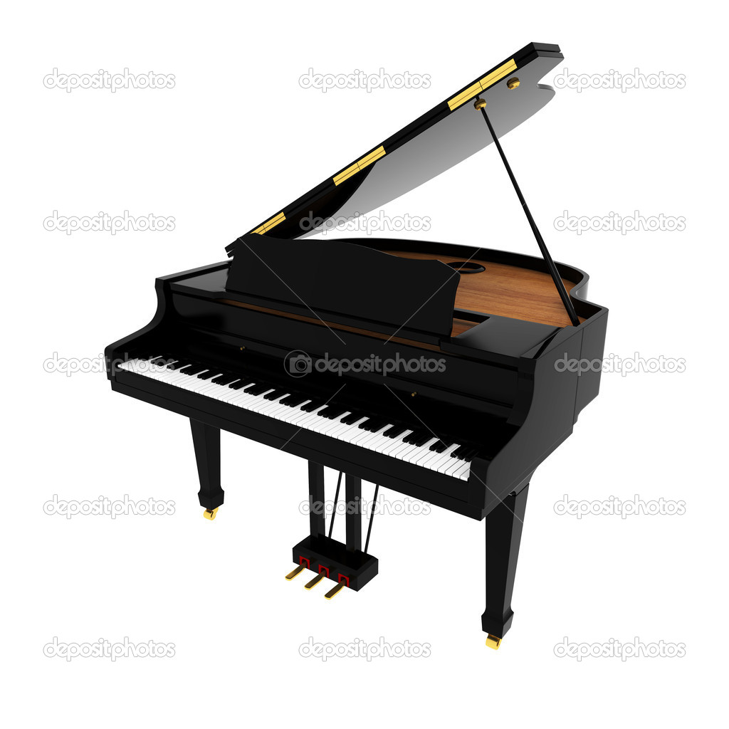 Real black grand piano isolated on white  Stock Photo #4546344