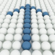 White 3D balls with blue balls — Photo
