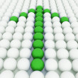 White 3D balls with green balls — Photo