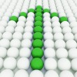 White 3D balls with green balls - Stock Photo