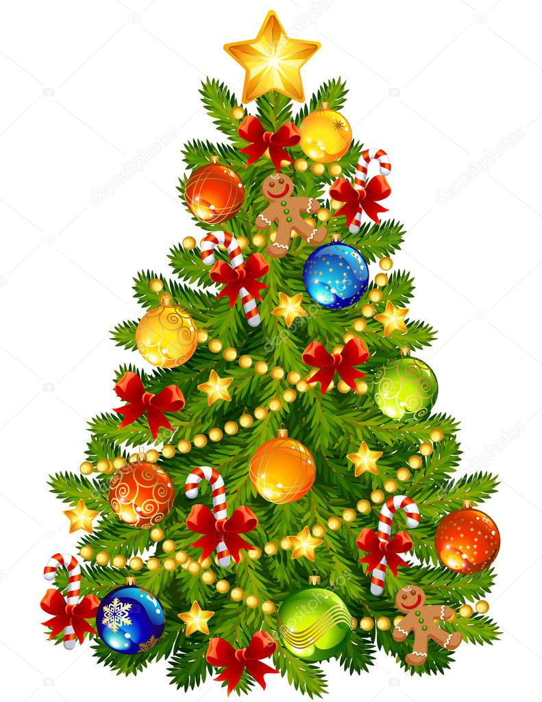 Vector illustration - Christmas tree — ベクター素材ストック #4115827