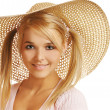 Girl in straw hat - Stock Photo