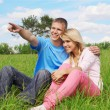 jovem casal ao ar livre — Foto Stock