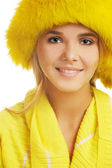 Girl in furry hat — Stock Photo