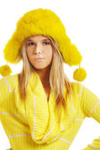 Girl in furry hat — Stock Photo