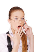 Surprised woman phone calling — Stockfoto