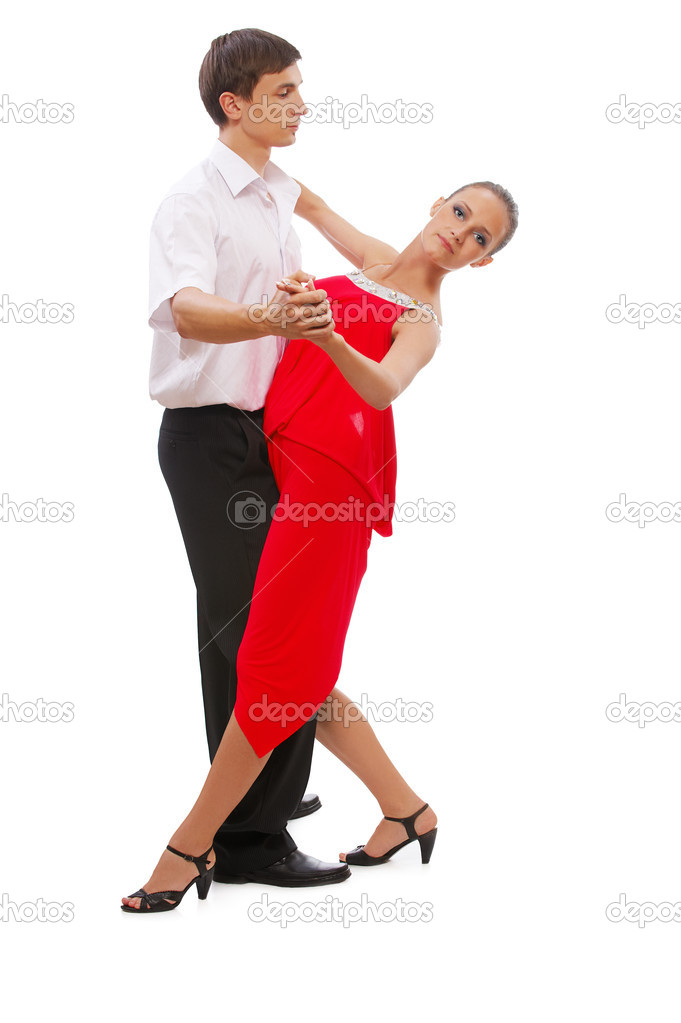 Isolated portrait of gorgeous girl and man performing tango — Stock Photo #4016280