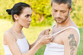 Quarrel between girl and guy. — Stock Photo