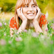 Portrait of charming fair-haired girl - Stockfoto