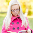 Beautiful girl reads red book - Stock Photo
