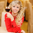 Young woman with red wine - Stock Photo