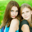 Two young beautiful  woman - Stok fotoğraf