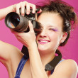 Young girl with camera — Stock Photo #4968876