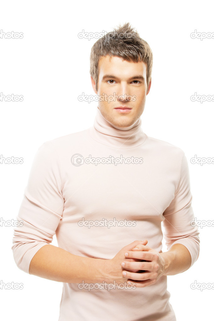 Portrait handsome young man in a sweater is isolated on a white background — Stock Photo #5361133