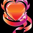 Blazing heart over dark — Stock Vector