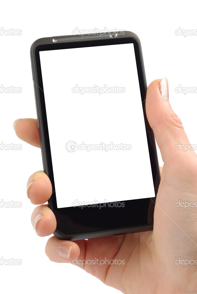 Female hand with modern smartphone isolated over white background with clipping path. — Stock Photo #5139138