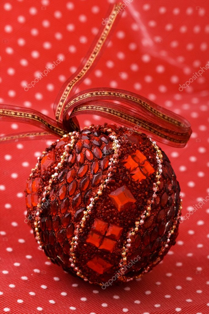 Christmas red ball ornament close up  — Stock Photo #4179608