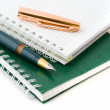 The green pen and notebook — Stock Photo #4456676