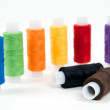 Stock Photo: Set of sewing threads on white backgrounds