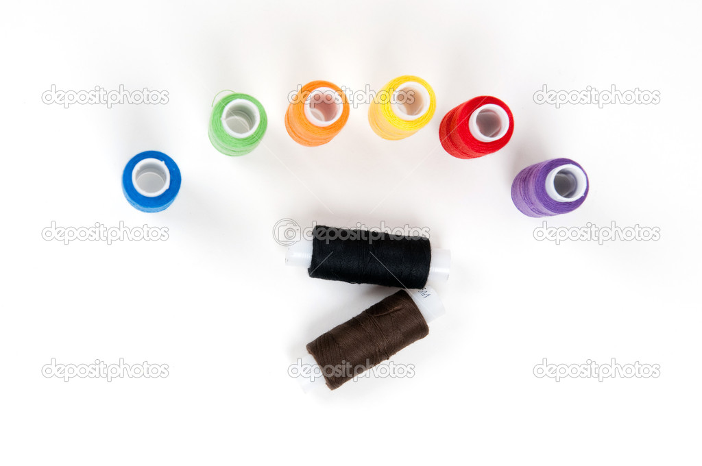 Set of sewing threads on white backgrounds — Stock Photo #4033493