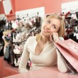 The girl at a counter — Stock Photo