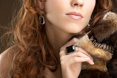 Lady with fur coat — Stock Photo