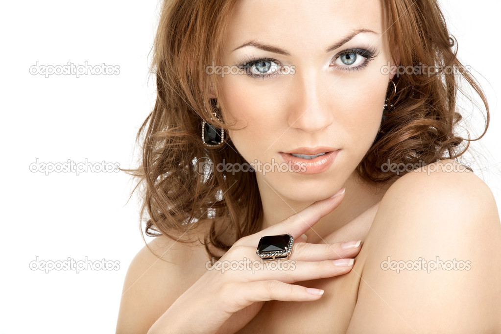 The beautiful woman in jewelry with the bared shoulders  Stock fotografie #3986351