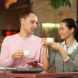 Royalty-Free Stock Photo: Conversation in cafe