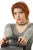 The scared girl - driver — Stock Photo