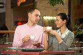 Conversation in cafe — Stock Photo